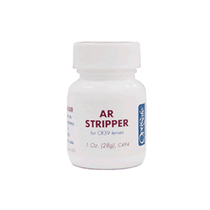 OptiSafe AR Stripper for CR39 Lenses in a one ounce bottle.
