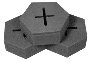 Image of three dens foam lap tools, high diopter, for Coburn optical lens generators. Each foam lap has an indentation of two intersecting lines.